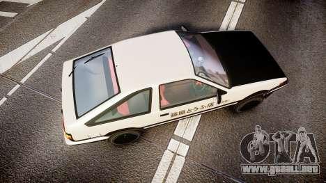 Toyota AE86 Tofu para GTA 4 visión correcta
