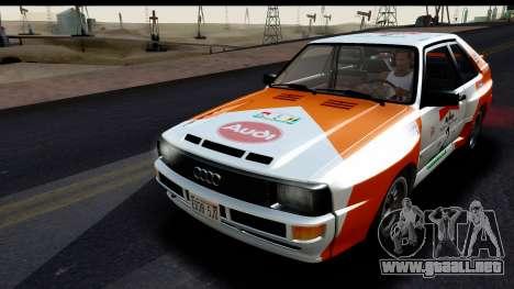 Audi Sport Quattro B2 (Typ 85Q) 1983 [HQLM] para vista inferior GTA San Andreas