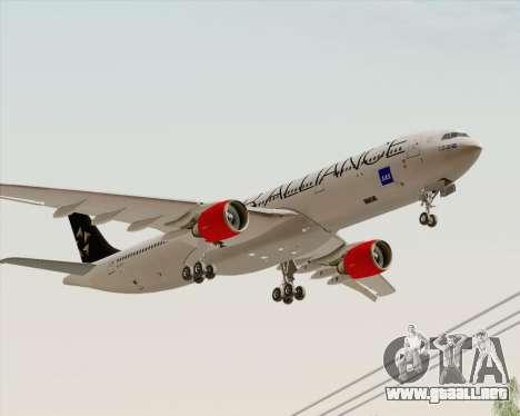 Airbus A330-300 SAS Star Alliance Livery para GTA San Andreas vista posterior izquierda