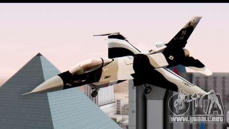 F-16 Aggressor Squadron Alaska Black Camo para GTA San Andreas vista posterior izquierda