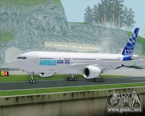 Airbus A330-200 Airbus S A S Livery para GTA San Andreas vista posterior izquierda