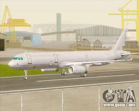 Airbus A321-200 Royal New Zealand Air Force para GTA San Andreas vista hacia atrás