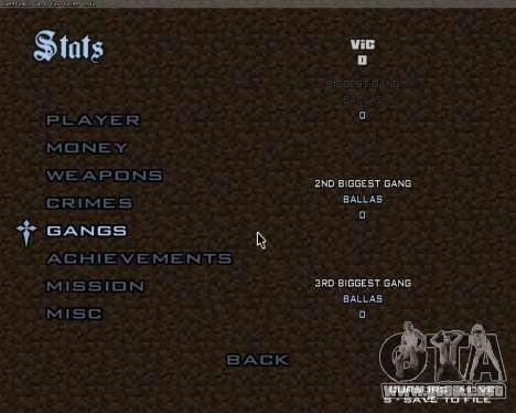 Minecraft Menú para GTA San Andreas tercera pantalla