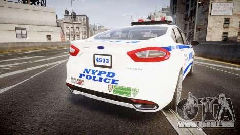 Ford Fusion 2014 NYPD [ELS] para GTA 4 Vista posterior izquierda
