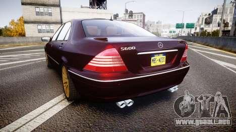 Mercedes-Benz S600 W220 para GTA 4 Vista posterior izquierda