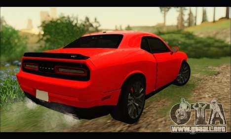 Dodge Challenger SRT HELLCAT 2015 para GTA San Andreas vista posterior izquierda