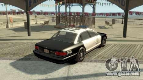 GTA V Vapid Stanier Police Cruiser para GTA 4 Vista posterior izquierda