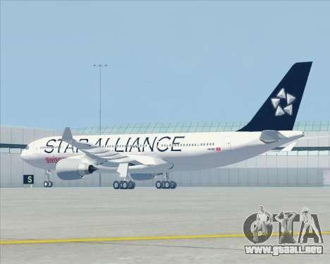 Airbus A330-200 SWISS (Star Alliance Livery) para GTA San Andreas vista hacia atrás
