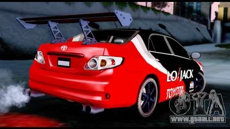 Toyota Corolla 2012 LOJACK Racing para GTA San Andreas left