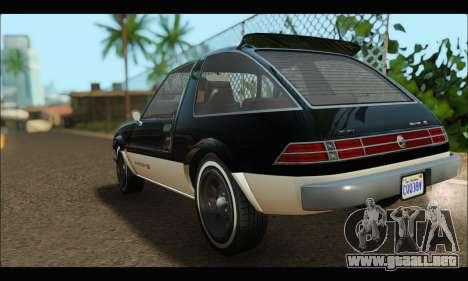 Declasse Rhapsody (GTA V) (SA Mobile) para GTA San Andreas vista posterior izquierda