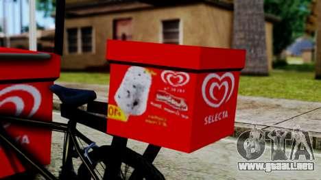 Selecta Ice Cream Bike para GTA San Andreas vista posterior izquierda