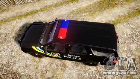 Chevrolet Tahoe 2010 Sheriff Bohan [ELS] para GTA 4 visión correcta