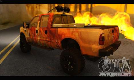 Ford F-250 Rusty Lifted 2010 para GTA San Andreas vista hacia atrás