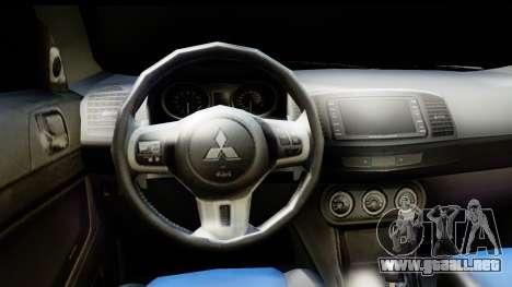 Mitsubishi Lancer X RE-Racing Edition para GTA San Andreas vista posterior izquierda