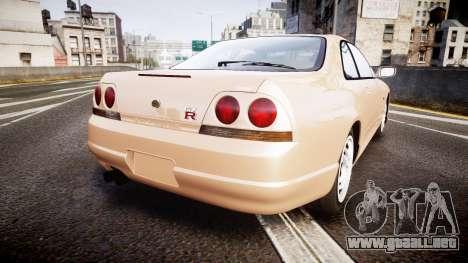 Nissan Skyline R33 GT-R V.spec 1995 para GTA 4 Vista posterior izquierda