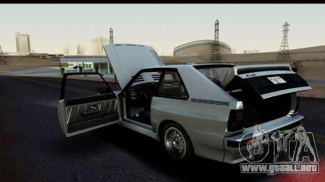 Audi Sport Quattro B2 (Typ 85Q) 1983 [HQLM] para GTA San Andreas vista hacia atrás