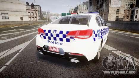 Holden VF Commodore SS Victorian Police [ELS] para GTA 4 Vista posterior izquierda