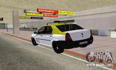 Dacia Logan Taxi para GTA San Andreas vista posterior izquierda