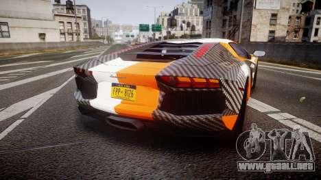 Lamborghini Aventador 2012 [EPM] Hankook Orange para GTA 4 Vista posterior izquierda