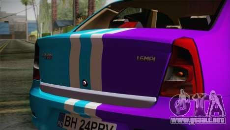 Dacia Logan Purple-Blue para la visión correcta GTA San Andreas