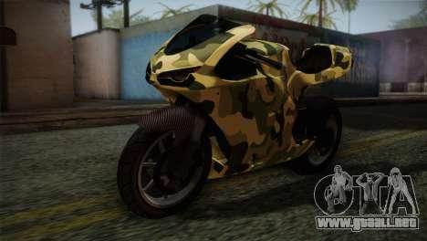 GTA 5 Bati Green para GTA San Andreas vista hacia atrás