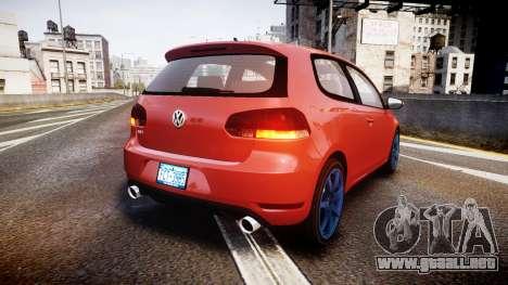 Volkswagen Golf Mk6 GTI rims3 para GTA 4 Vista posterior izquierda
