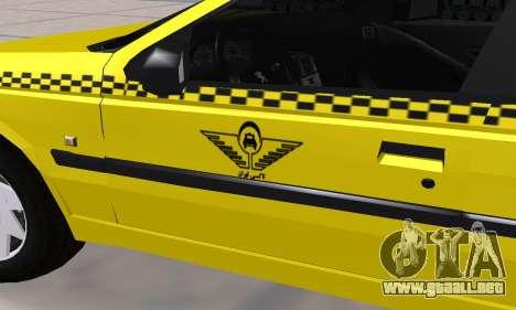 Peugeot 405 Roa Taxi para la vista superior GTA San Andreas