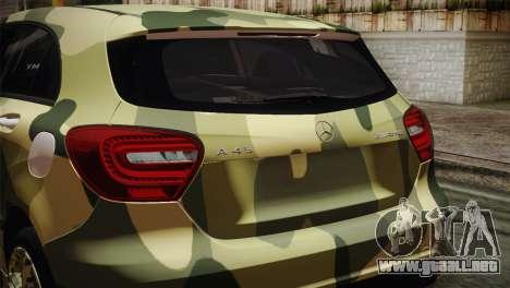 Mercedes-Benz A45 AMG Camo Edition para GTA San Andreas vista hacia atrás