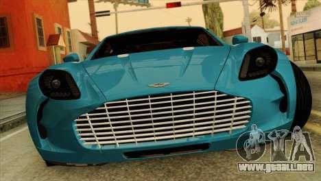 Aston Martin One 77 2010 para GTA San Andreas vista hacia atrás