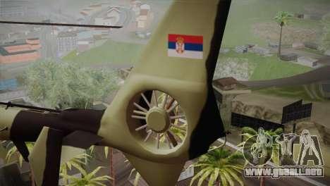 SA 342 Serbian Police Gazelle CAMO para GTA San Andreas vista posterior izquierda