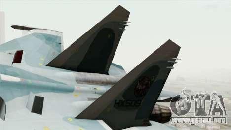 Sukhoi SU-27 PMC Reaper Squadron para GTA San Andreas vista posterior izquierda
