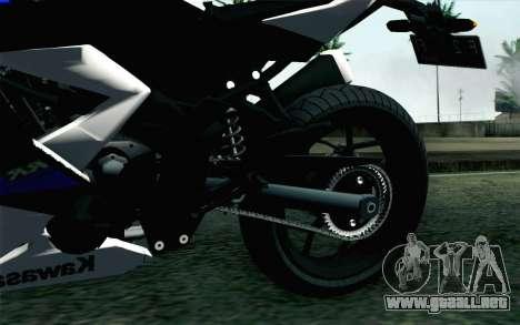 Kawasaki Ninja 250RR Mono White para GTA San Andreas vista posterior izquierda
