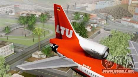 Lookheed L-1011 LTU Intl para GTA San Andreas vista posterior izquierda