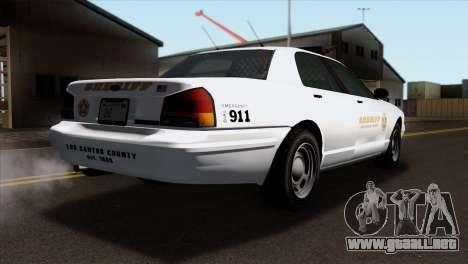 GTA 5 Vapid Stanier Sheriff SA Style para GTA San Andreas left