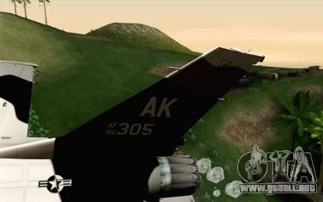 F-16C Fighting Falcon Aggressor Alaska BlackGrey para GTA San Andreas vista posterior izquierda