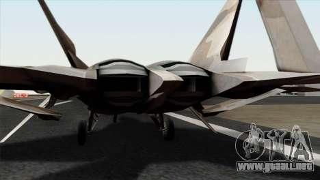 F-22 Raptor 02 para GTA San Andreas vista hacia atrás