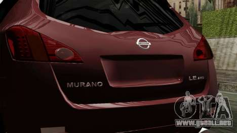 Nissan Murano 2008 para GTA San Andreas vista hacia atrás