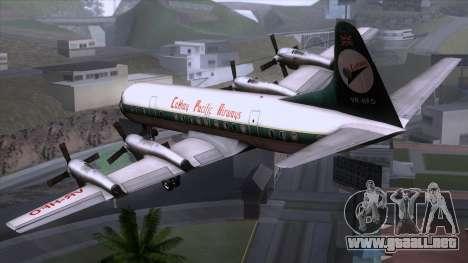 L-188 Electra Cathay P para GTA San Andreas left