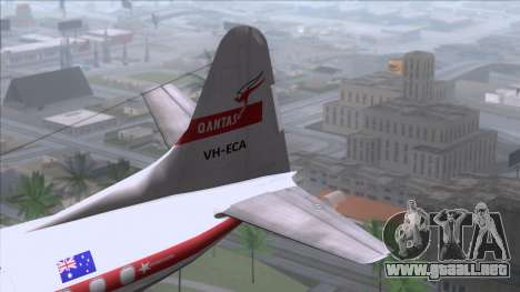 L-188 Electra Qantas para GTA San Andreas vista posterior izquierda