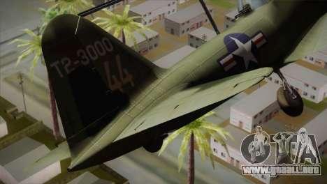 ИЛ-10 de la Fuerza Aérea de Estados unidos para GTA San Andreas vista posterior izquierda