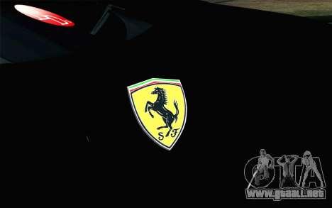 Ferrari F12 Berlinetta para GTA San Andreas vista hacia atrás