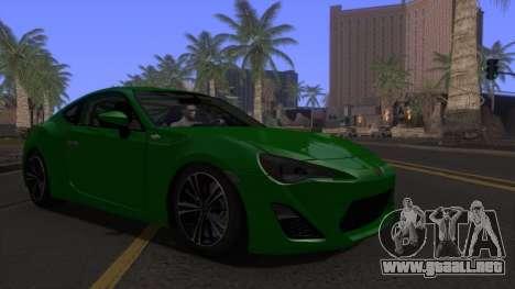 Scion FR-S 2013 Stock v2.0 para GTA San Andreas vista hacia atrás