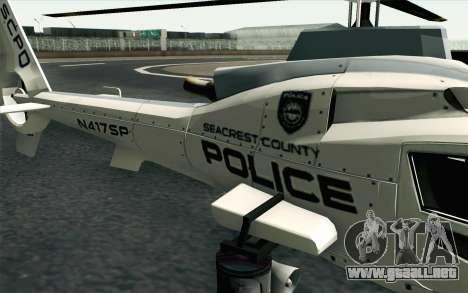 NFS HP 2010 Police Helicopter LVL 1 para GTA San Andreas vista hacia atrás