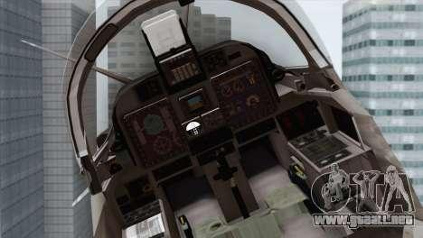 Embraer A-29B Super Tucano Navy White para GTA San Andreas vista hacia atrás