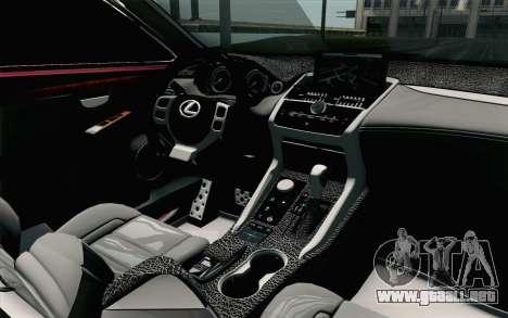 Lexus NX 200T v3 para la visión correcta GTA San Andreas