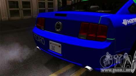 Ford Mustang GT Wheels 2 para GTA San Andreas vista hacia atrás
