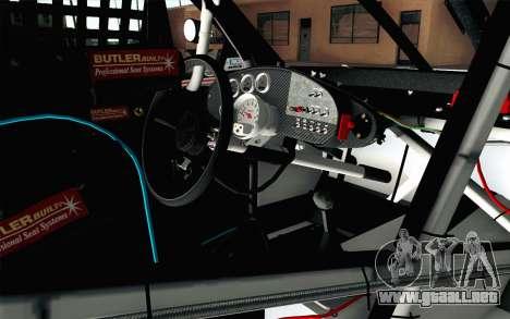 NASCAR Chevrolet Impala 2012 Plate Track para la visión correcta GTA San Andreas