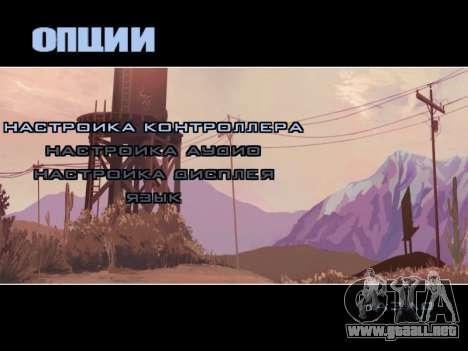Menú HD para GTA San Andreas sucesivamente de pantalla
