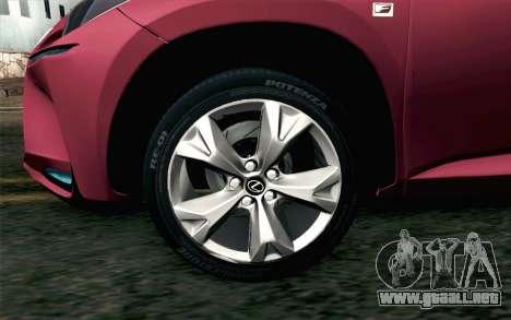 Lexus NX 200T v3 para GTA San Andreas vista posterior izquierda