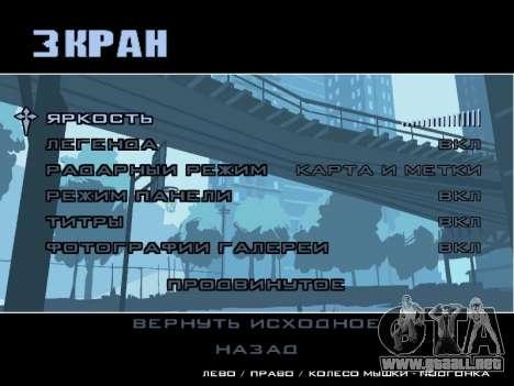 Menú HD para GTA San Andreas sexta pantalla